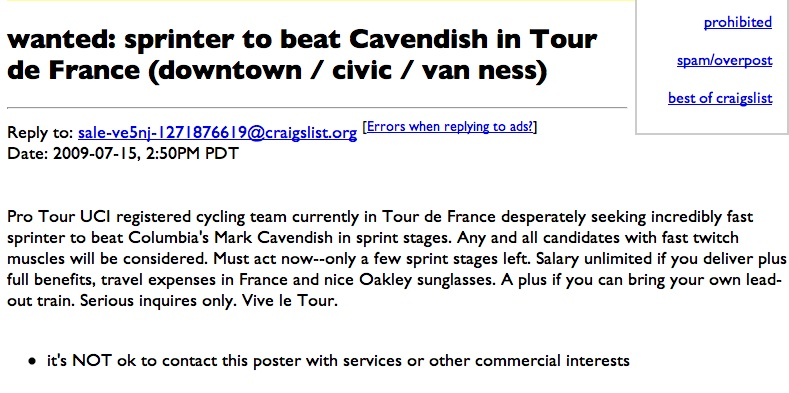 A Tour de France first: a sprinter job listing.