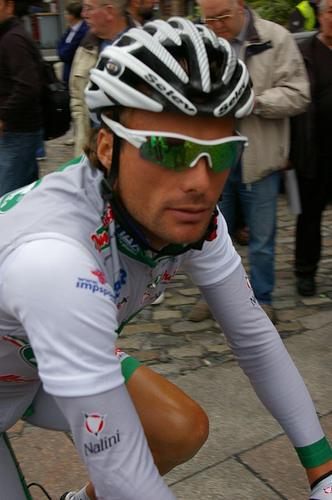 Danilo Di Luca rides to his lawyers offices.
