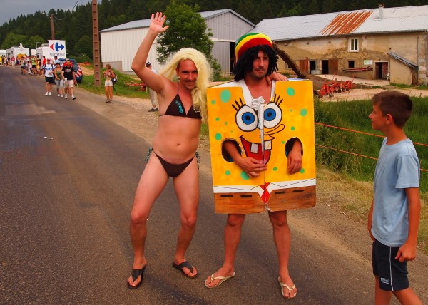 Thong man and Sponge Bob at Tour de France.