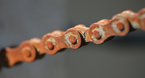 Schleck's rusty chain.