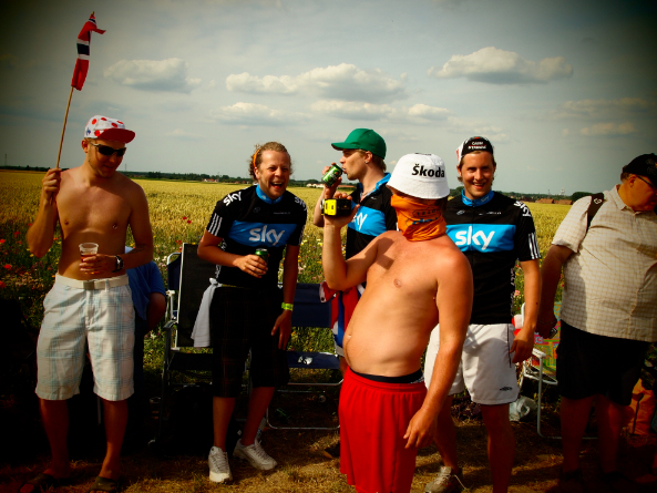Hushovd's drunk supporters.