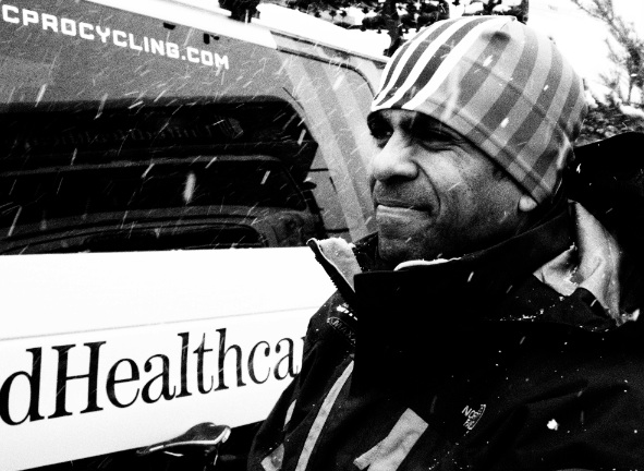 UnitedHealthcare team mechanic enjoys snow, two muntes before cancellation.