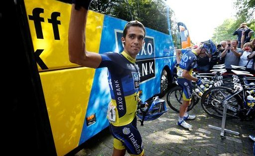 Alberto Contador feeling Schleck-ish.