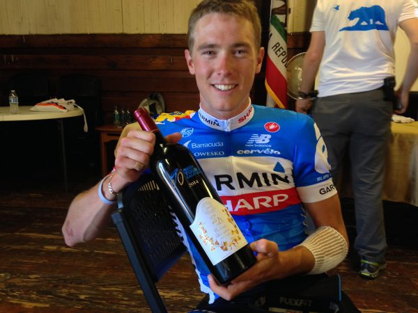 Garmin's Rohan Dennis shows off his second place ZD cabernet.