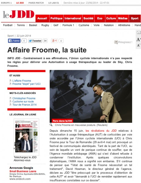 Le Journal du Dimanche attacks Froome and Sky.