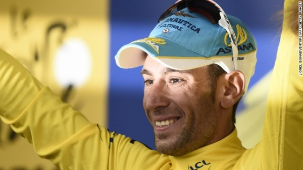 Nibali. Heart on lycra sleeve.