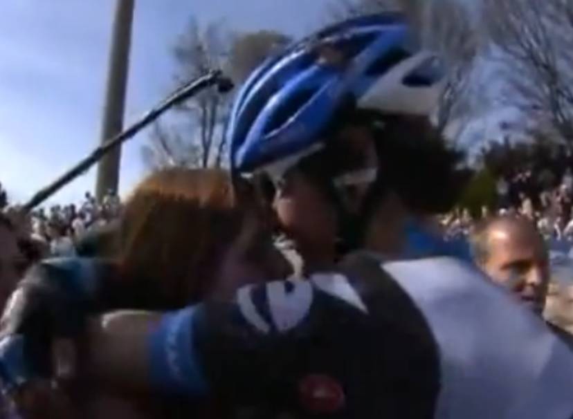 Love is Hell. Paris-Roubaix winner proposes at velodrome.